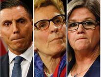 PC Leader Patrick Brown, Premier Kathleen Wynne and NDP Leader Andrea Horwath. (Postmedia file photos)