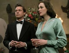 "Brad Pitt and Marion Cotillard in ""Allied."""