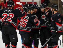 Hurricanes' Jordan Staal (11) celebrates his goal with teammates Elias Lindholm (16), Jaccob Slavin (74), Teuvo Teravainen (86) and Brett Pesce (22) against the Capitals during NHL action in Raleigh, N.C., on Nov. 12, 2016. (Karl B DeBlaker/AP Photo)