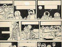 Tintin Explorers on the Moon drawing