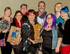 Leonard Modderman photo From left are: Jana Busse, Wendy Roy, Eric Lucas, Lisa Morris, Ian Feltham, Princess (Morgan Bajona), Alex Bell, Heather Barker (missing is Amber Lucas).