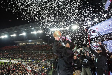 Ottawa Redblacks coach Rick Campbell  wins the Grey Cup  during CFL Grey Cup action in Toronto, Ont. on Sunday November 27, 2016. Craig Robertson/Toronto Sun/Postmedia Network