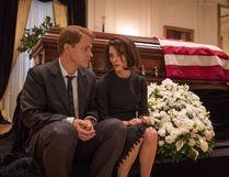 Peter Sarsgaard as Bobby Kennedy and Natalie Portman as Jackie Kennedy in Jackie.