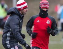 Toronto FC forward Sebastian Giovinco bundles up at practice at the KIA Training Grounds in Toronto on Dec. 8, 2016. (Craig Robertson/Toronto Sun/Postmedia Network)