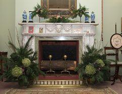Christmas decorations adorn a fireplace at Eldon House in London. (DEREK RUTTAN, The London Free Press)