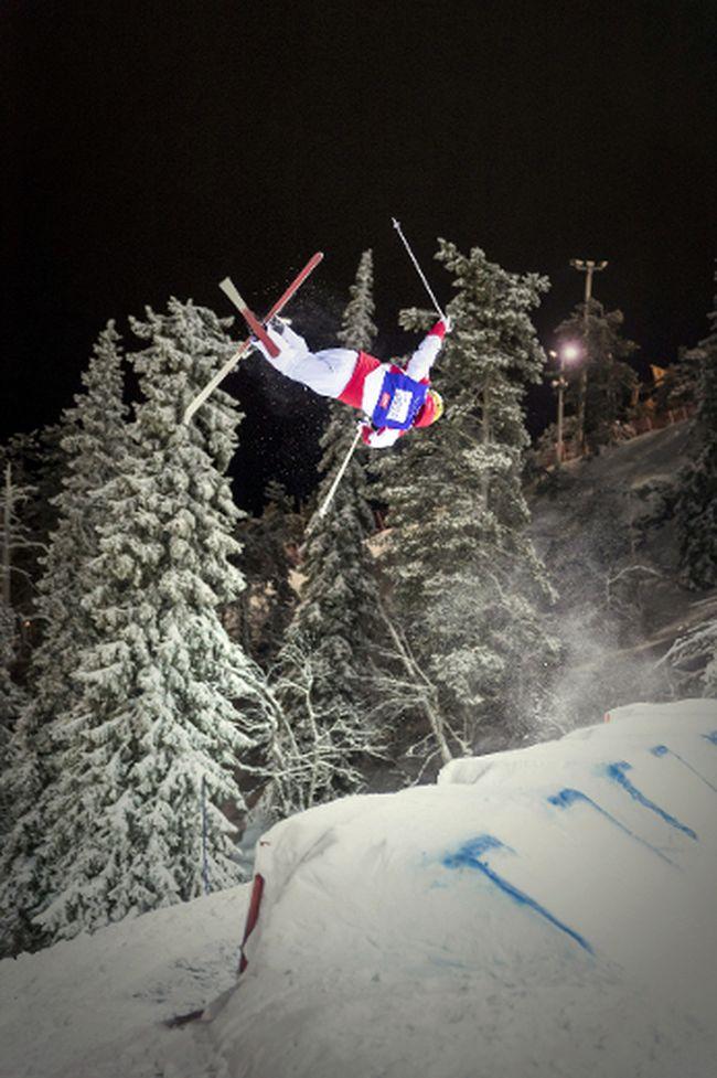 Canada's Mikael Kingsbury competes to win at the Men's Moguls of the Freestyle Ski World Cup season opening event in Ruka Kuusamo, Finland, on Saturday, Dec. 10, 2016. (Teemu Moisio/Lehtikuva via AP)