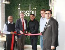 The grand opening of Sarnia's Freshii restaurant on Dec. 2. From left to right: Mahatej Deol, Mayor Mike Bradley, Moe Deol, Peter DiMurro, Abdul Younas. CARL HNATYSHYN/SARNIA THIS WEEK