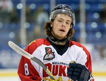 OJHL scoring leader Brayden Stortz of the Wellington Dukes tallied twice in a 3-1 win over Markham on Tuesday night. (OJHL Images)