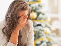 sad woman, christmas tree