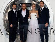 Michael Sheen, Morten Tyldum, Jennifer Lawrence and Chris Pratt