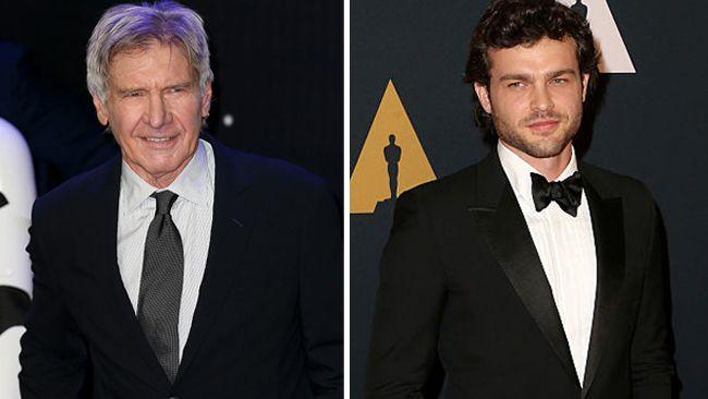 Harrison Ford and Alden Ehrenreich. (Getty Images)