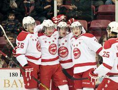 Soo Greyhounds celebrate a goal. (Sault Star File Photo)
