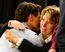 Prime Minister Justin Trudeau hugs Kathy Katula
