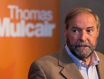Federal NDP leader Thomas Mulcair speaks with the media at Federal NDP caucus at the Fairmont Hotel MacDonald in Edmonton, Alta., on Wednesday, Sept. 10, 2014. (Ian Kucerak/Edmonton Sun/ QMI Agency)