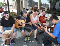 Members of the Sudbury Youth Rocks Program jam in downtown Sudbury in this file photo. Sudbury Star/John Lappa
