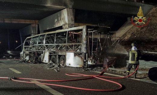 Bus carrying students on ski holiday crashes and burns, killing 16
