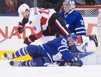 Leafs' Martin Marincin and Senators' Derick Brassard battle in front of Leafs goalie Frederik Andersen during first period NHL action in Toronto on Saturday, Jan. 21, 2017. (Stan Behal/Toronto Sun)