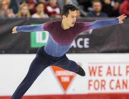 Patrick Chan gets some air during his free program at the national skating championships at TD Place in Ottawa last night. Chan won his ninth Canadian title. (Wayne Cuddington/Postmedia Network)