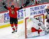 Senators' Zack Smith celebrates one of his two goals against Columbus Blue Jackets goaltender Joonas Korpisalo last night. (THE CANADIAN PRESS)