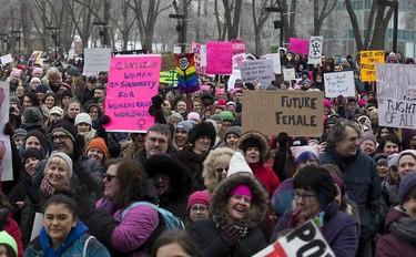 Edmonton 'sister march' protest held against U.S. President _3