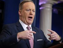 White House press Secretary Sean Spicer speaks during the daily White House briefing in Washington on Monday, Jan. 23, 2017. (AP Photo/Evan Vucci)