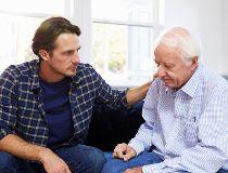 Elderly father, son