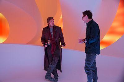Chris Pratt (Star-Lord) and Director James Gunn on the set of Marvel's Guardians Of The Galaxy Vol. 2. (Marvel Studios)