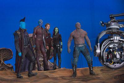 L to R: Michael Rooker (Yondu), Karen Gillan (Nebula), Chris Pratt (Star-Lord), Zoe Saldana (Gamora) and Dave Bautista (Drax) on the set of Marvel's Guardians Of The Galaxy Vol. 2. (Marvel Studios)