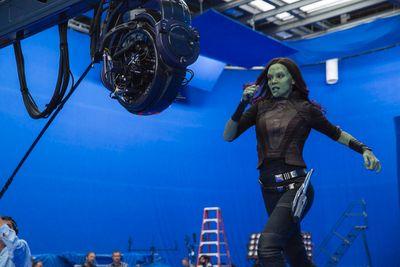 Zoe Saldana's Gamora on the set of Marvel's Guardians Of The Galaxy Vol. 2. (Marvel Studios)