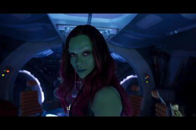 Zoe Saldana's Gamora in a scene from Guardians of the Galaxy Vol. 2. (Marvel Studios)
