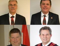 Clockwise from top left: West Elgin Mayor Bernie Wiehle, Dutton Dunwich Mayor Cameron McWilliam, Elgin County Warden Grant Jones, Warwick Twp. Mayor Todd Case.