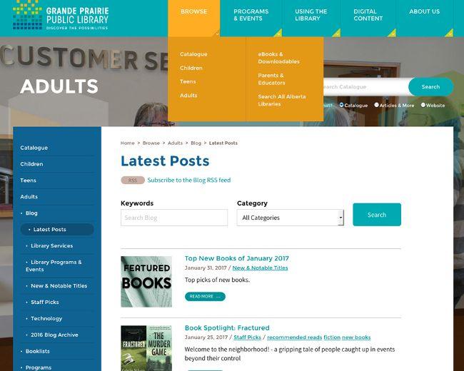 Screenshot of Grande Prairie Public Library's new website.