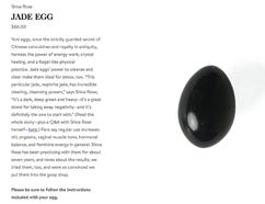 A black jade egg sold on Gwyneth Paltrow's lifestyle blog Goop is pictured in a screengrab. (Goop screengrab)