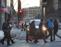 Pedestrians walk on McGill College Avenue in Montreal, Feb. 8, 2012. (Vincenzo D'Alto/THE MONTREAL GAZETTE)