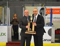 Bonnyville Pontiacs head coach and GM Rick Swan (left) receiving his AJHL Coach of the Year award last season. Peter Lozinski Postmedia Network