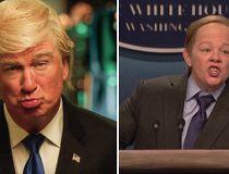 Alec Baldwin as Donald Trump and Melissa McCarthy as Sean Spicer.