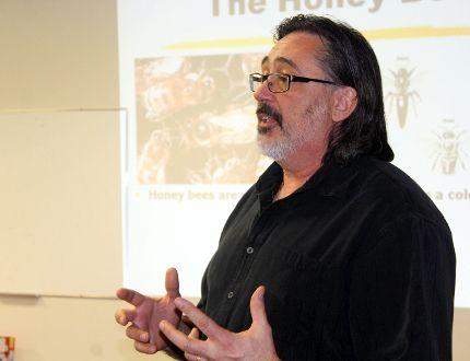 Bee expert Rheal Lafreniere shared his knowledge in Morden. (GREG VANDERMEULEN/Morden Times)