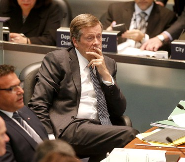 Toronto Mayor John Tory at the start of two days of debate on the 2017 City Budget at city hall on Wednesday February 15, 2017. (Michael Peake/Toronto Sun)