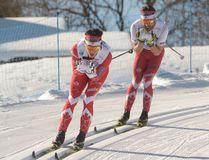 Brian McKeever and Graham Nishikawa at the 2017 Para-Nordic World Championships visually impaired classic cross-country skiing race in Finsterau, Germany on Thursday, Feb. 16, 2017. (Bob Nishikawa)