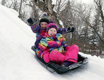 Sophie Amirault, 9, raises her arms, while her friend, Emma Barr, is all smiles.(Brook Jones/Selkirk Journal/Postmedia Network)