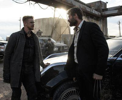 Pierce (Boyd Holbrook) and Logan (Hugh Jackman) face off. Photo Credit: Ben Rothstein.
