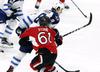 Ottawa Senators' Mark Stone (61) is hit hard by Winnipeg Jets' Jacob Trouba (8) during third period NHL hockey action in Ottawa on, Sunday February 19, 2017. THE CANADIAN PRESS/Fred Chartrand