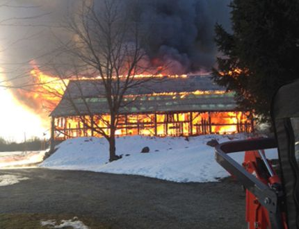 A barn fire near Rocklyn on Monday. (Supplied photo)