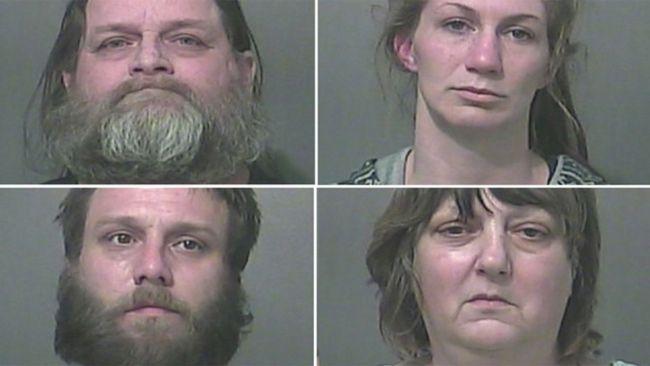 Hubert Kraemer, 56, Sarah Travioli, 30Chad Kraemer, 33, and Robin Kraemer, 53.  (Vigo County Sheriff's Department via AP)