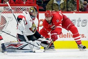 Carolina Hurricanes' Jordan Staal shoots and scores against Ottawa Senators goalie Craig Anderson during an NHL game in Raleigh, N.C., on Feb. 24, 2017. (AP Photo/Gerry Broome)