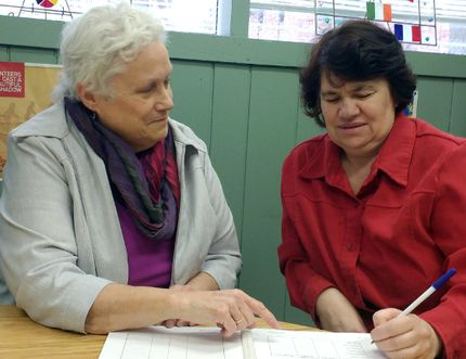 Instructor Wendy Conway works with Karen Sawyer at Program Read. (Supplied Photo)