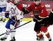 Blenheim Blades' Derek Hueni (3) battles Lakeshore Canadiens' Mejoe Gasparovic during Game 4 in their PJHL Stobbs Division semifinal at Blenheim Memorial Arena on Sunday, Feb. 26, 2017. (MARK MALONE/The Daily News)