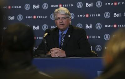 Jim Popp looks on during the Toronto Argonauts' news conference. (JACK BOLAND/TORONTO SUN)