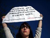 Street performance by Abolishion team to raise awareness of human trafficking and sexual slavery, Athens, Greece, Sep 20, 2016. (Giorgos Georgiou/NurPhoto via Getty Images)