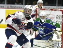 Michael Bell/Postmedia Network Kjell Kjemhus, 15, of Grande Prairie, made his Western Hockey League regular season debut on Feb. 26 with the Regina Pats.